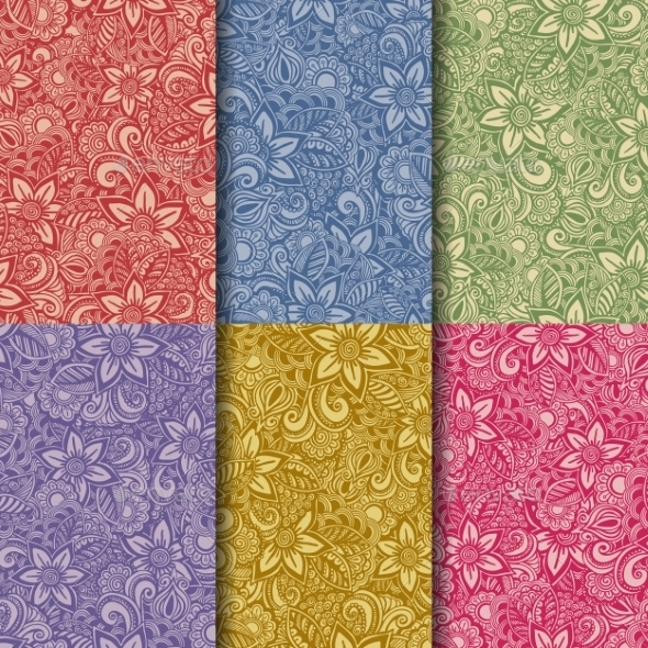 Set of Hand Drawn Seamless Flower Patterns - Patterns Decorative