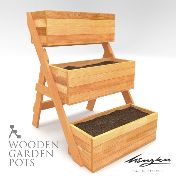 Wooden Garden Pots   3DOcean Item For Sale