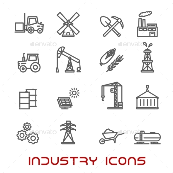 Industry And Ecology Thin Line Icons - Miscellaneous Icons