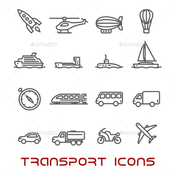 Thin Line Transportation Icons Set - Objects Icons
