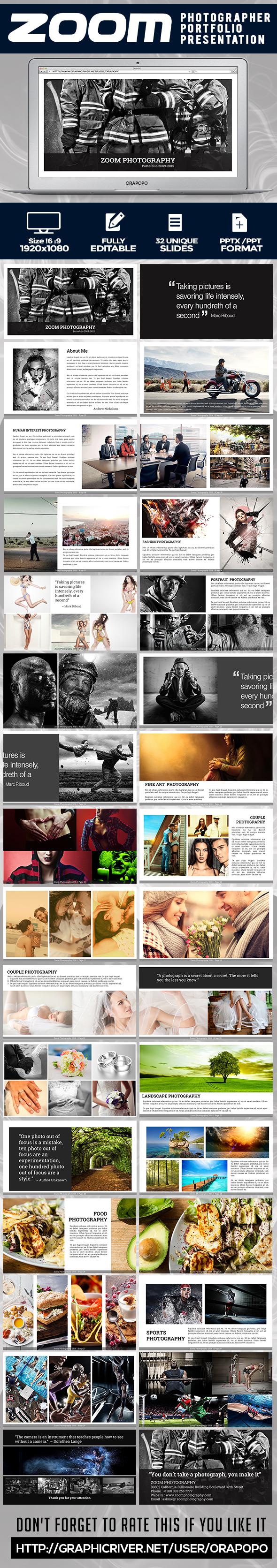 Zoom ~ Photographer Portfolio Presentation  - Creative PowerPoint Templates