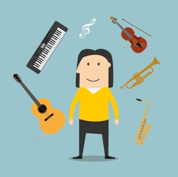 Musician and Musical Instruments Icons - People Characters