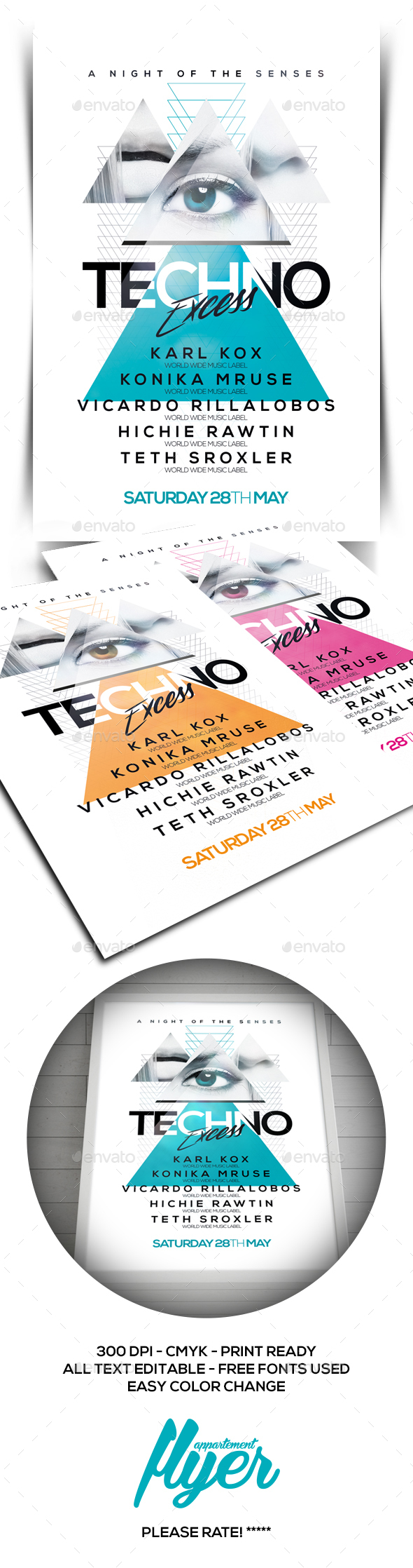 Techno Excess Flyer - Clubs & Parties Events