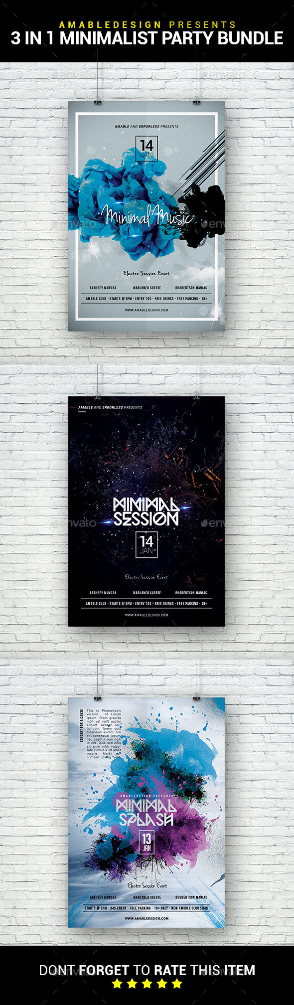 3 in 1 Minimalist Party Flyer/Poster Bundle - Clubs & Parties Events