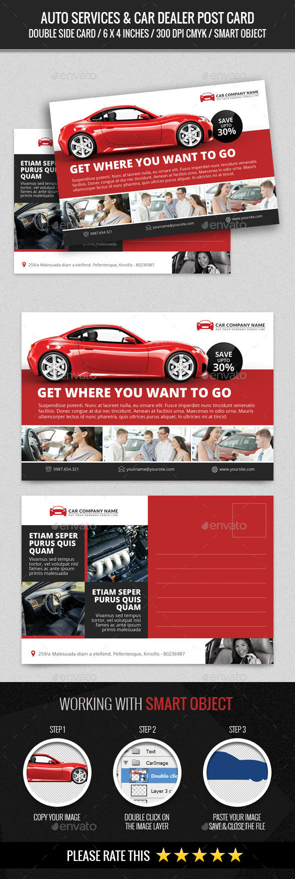 Auto Services & Car Dealer Post Card - Cards & Invites Print Templates
