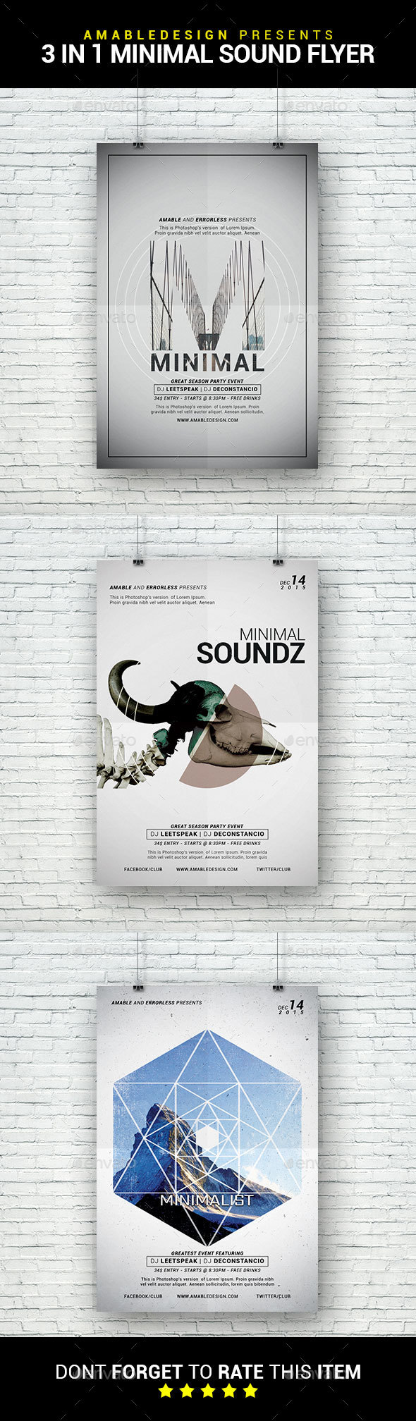 3 in 1 Minimal Sounds Party Flyer/Poster Bundle - Clubs & Parties Events