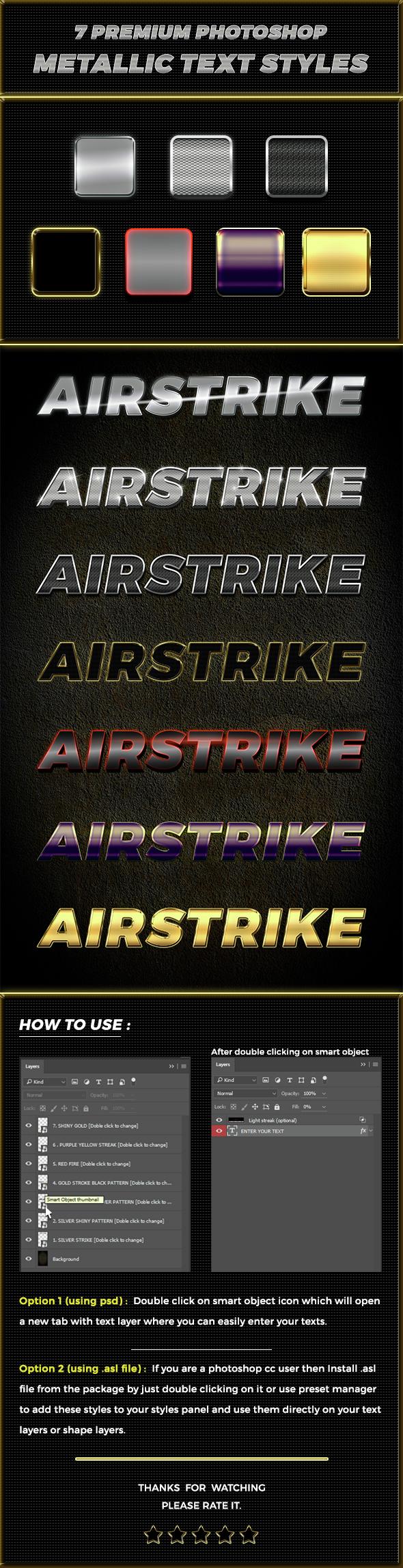 7 Premium Airstrike Photoshop metallic text styles - Text Effects Styles