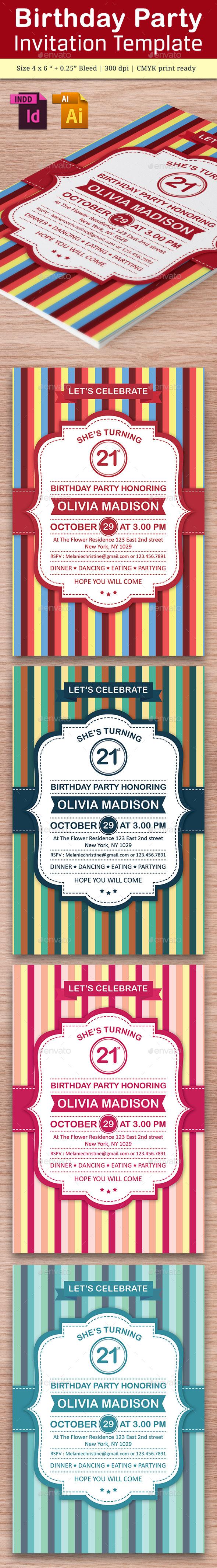 Birthday Party Invitation Template - Vol . 9 - Cards & Invites Print Templates