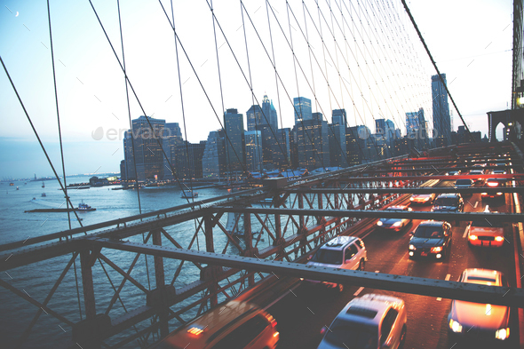 Brooklyn Bridge New York City Urban Metropolitan Concept - Stock Photo - Images