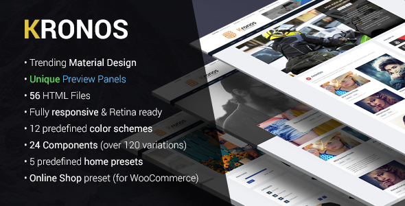KRONOS | Responsive Magazine/Blog Material Design HTML Template