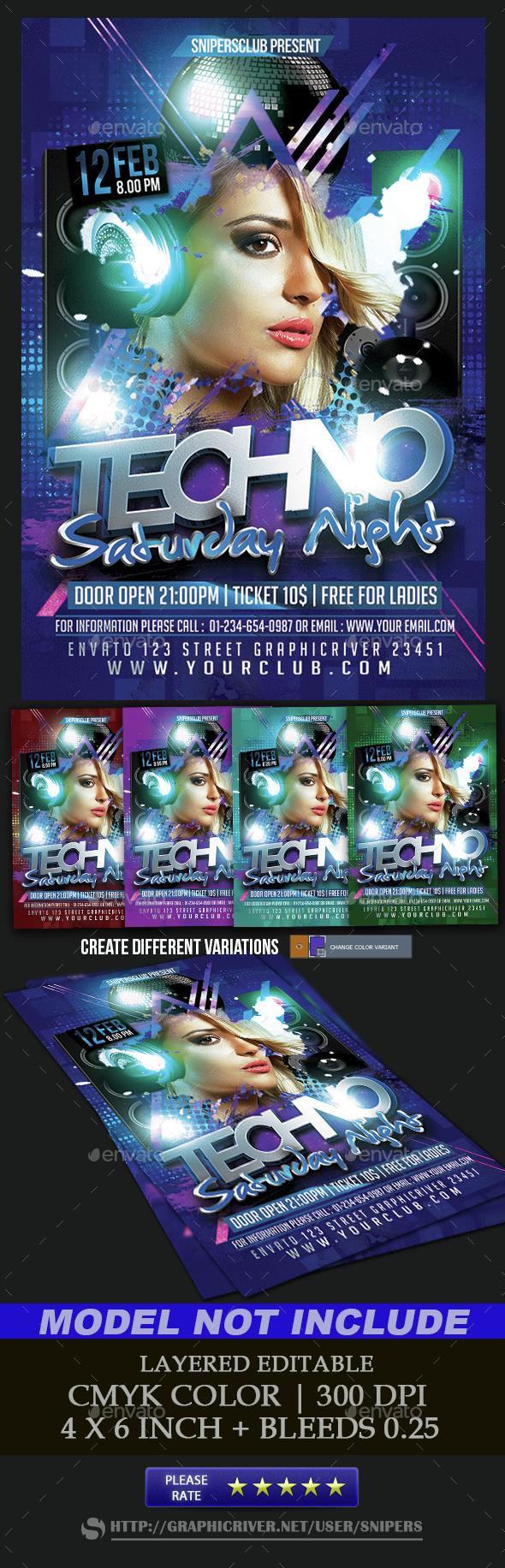 Techno Saturday Night - Events Flyers