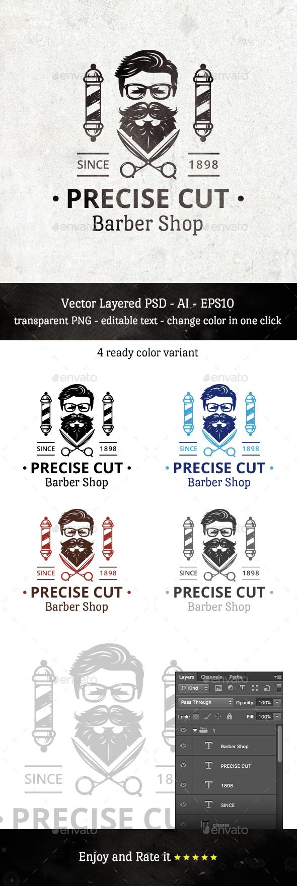 Precise Cut Barber Shop - Humans Logo Templates