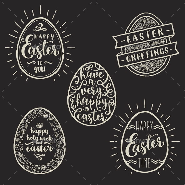 Set of Eggs with Easter Greeting Type Design - Miscellaneous Seasons/Holidays