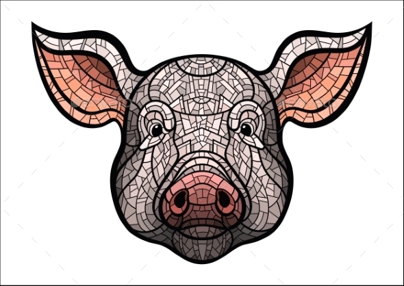 Pig Head Mascot - Animals Characters