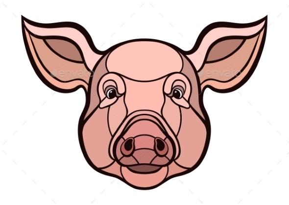 Pig Head Mascot - Animals Characters