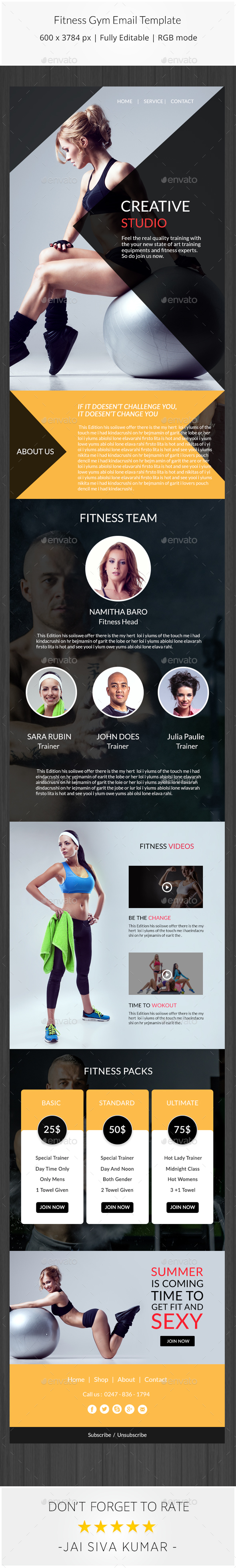 fitness gym email template by jaisivakumar graphicriver