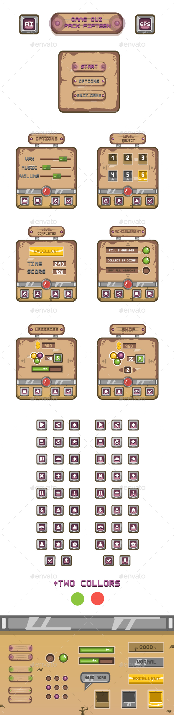 Game GUI Pack Fifteen - User Interfaces Game Assets