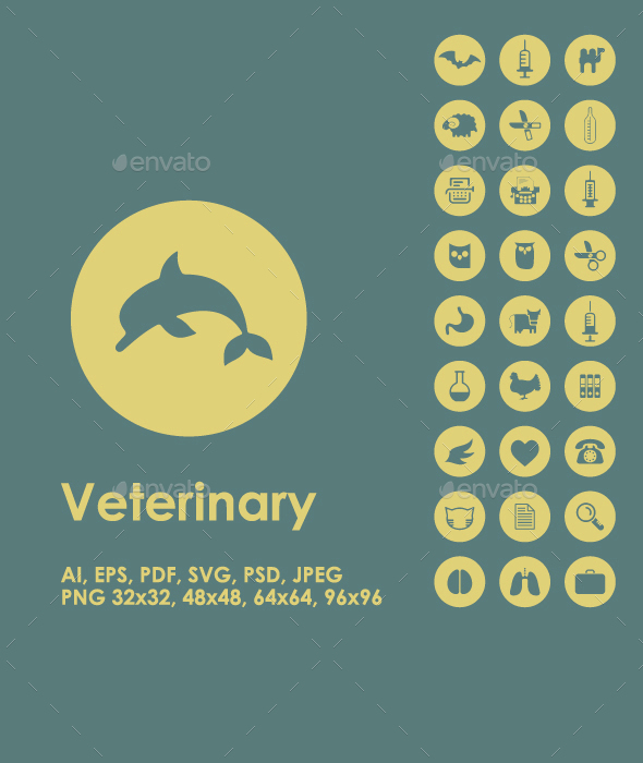 Set of veterinary simple icons - Animals Characters