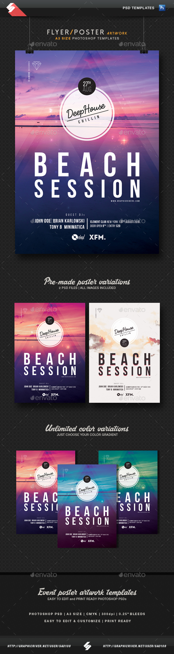 Beach Session - Deep House Flyer Templates A3 - Clubs & Parties Events