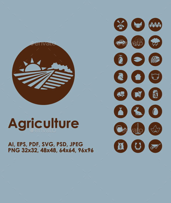 Set of agriculture simple icons - Seasonal Icons