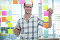 Hipster man looking at post-it in office - PhotoDune Item for Sale