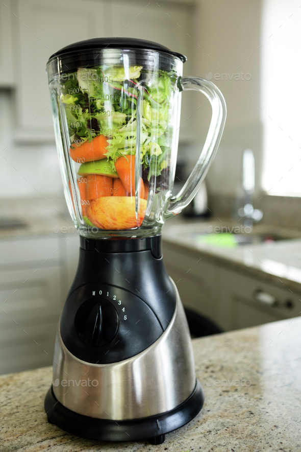 View of a mixer on the kitchen counter - Stock Photo - Images
