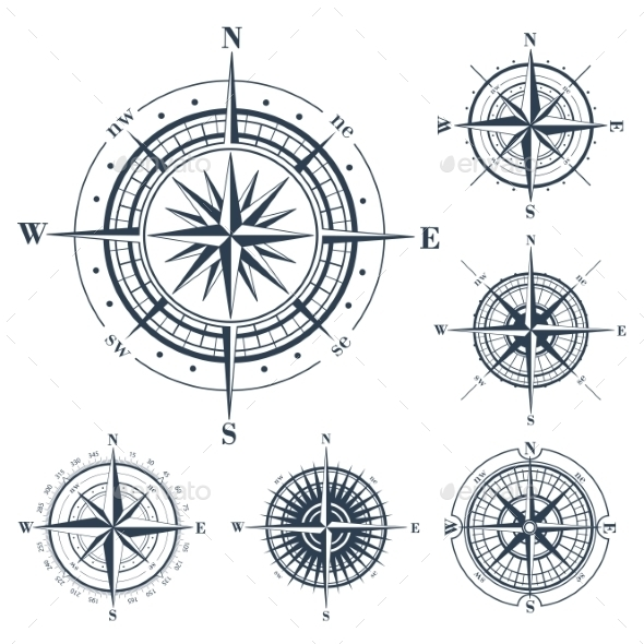 Set of Compass Roses Isolated on White - Decorative Symbols Decorative