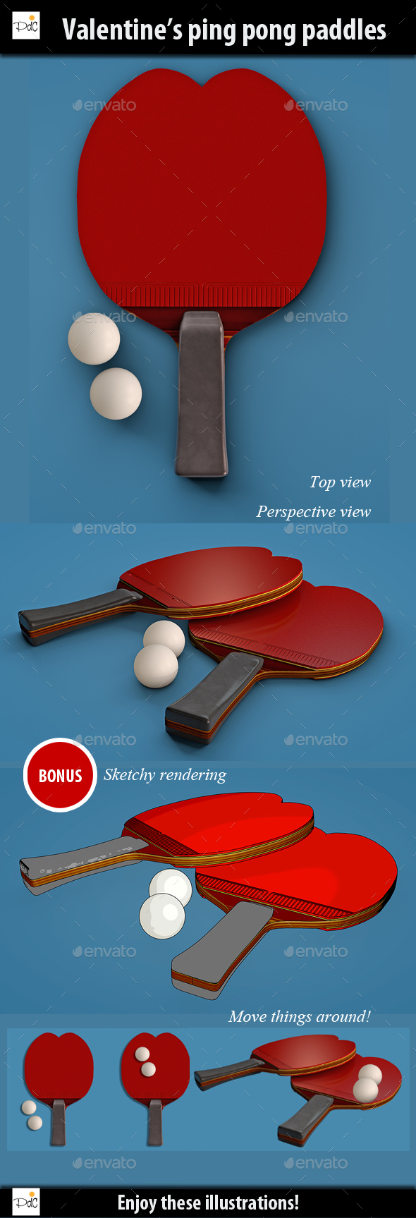 Valentine's heart shaped ping pong paddles - Objects Illustrations