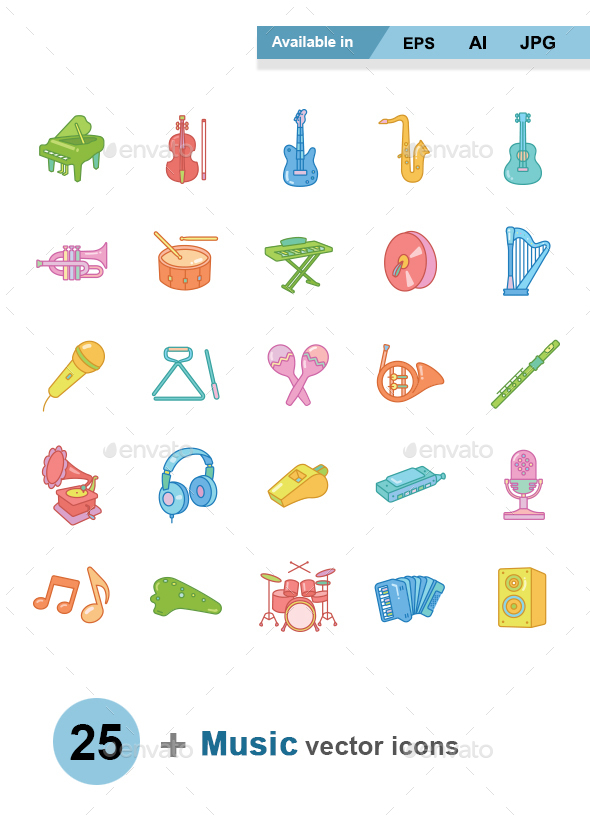 Music color vector icons - Man-made objects Objects