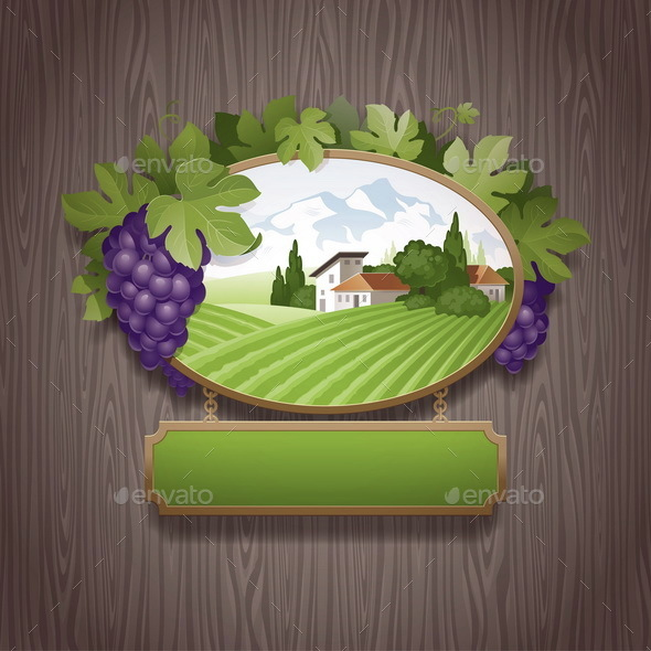 Vintage Signboard and Grapes - Vectors