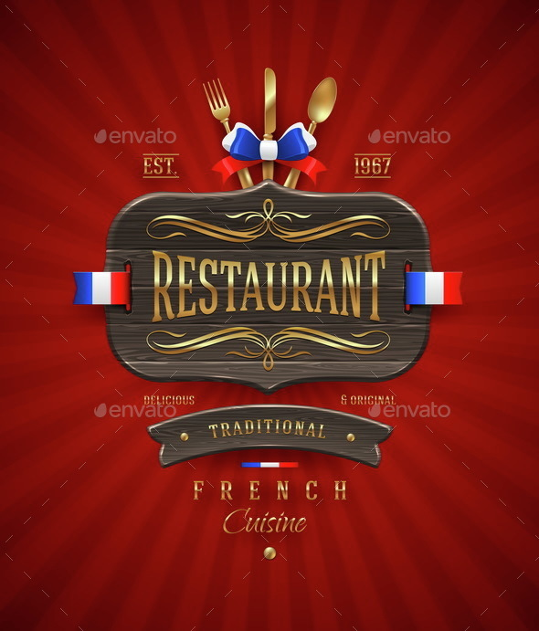 Vintage Wooden Sign of French Restaurant - Vectors