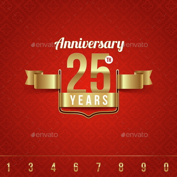 Golden Emblem of Anniversary - Decorative Vectors