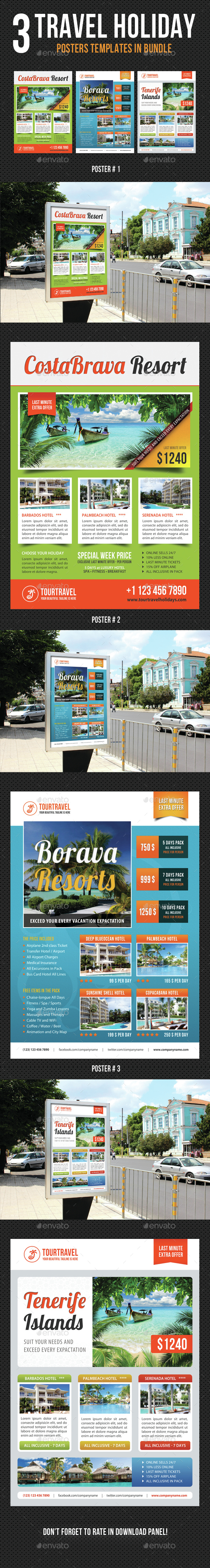 3 Travel Holiday Poster Bundle 01 - Signage Print Templates