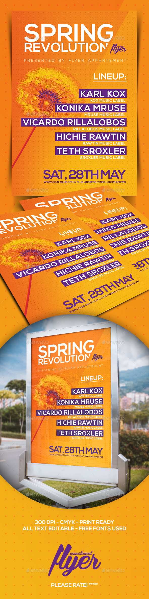 Spring Revolution Flyer - Clubs & Parties Events