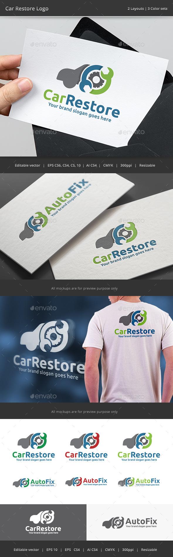 Car Restore Garage Logo - Vector Abstract