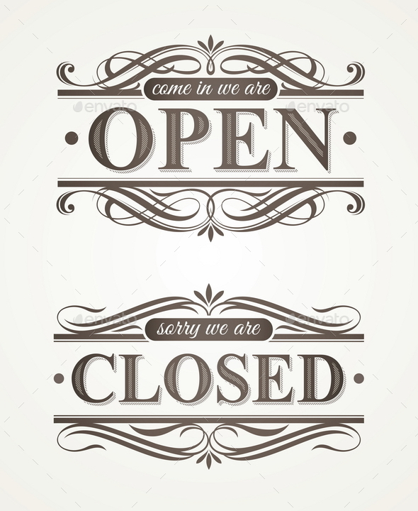 Open and Closed - Retro Signs - Decorative Vectors