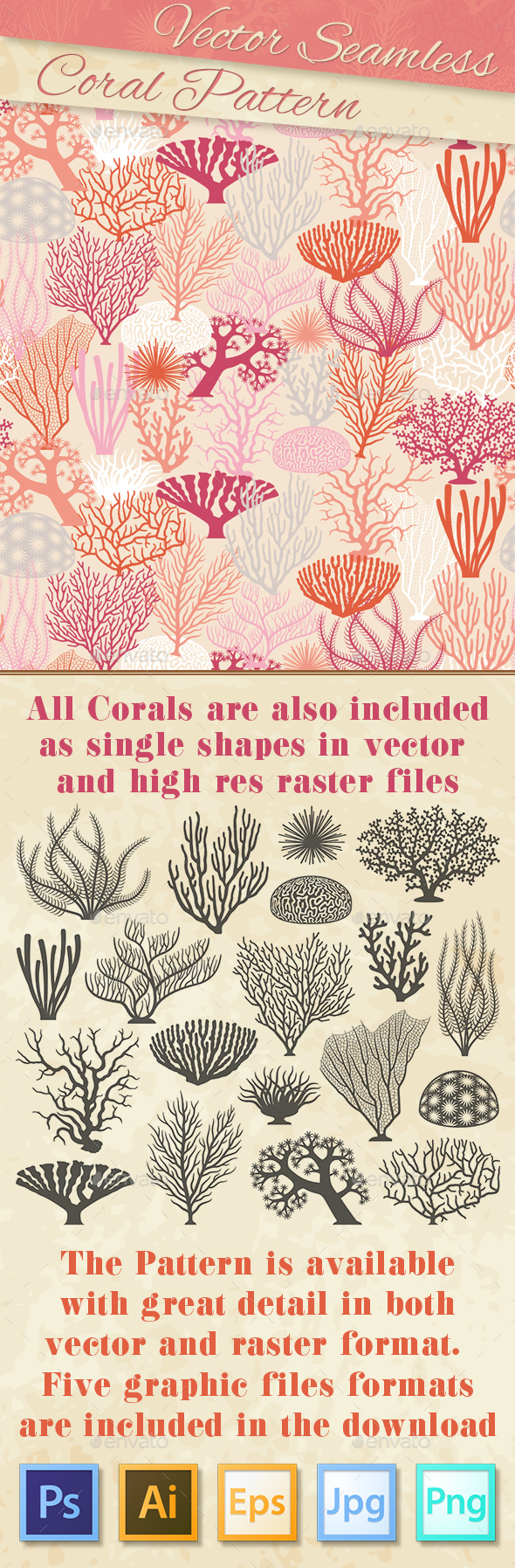 Coral Texture and Silhouettes - Decorative Vectors