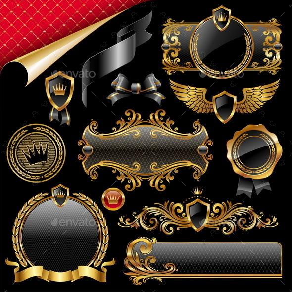 Set of Royal Gold and Black Design Elements - Decorative Vectors