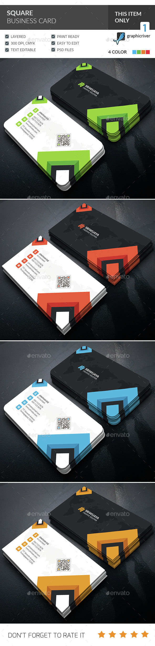 Square Corporate Business Card  - Corporate Business Cards