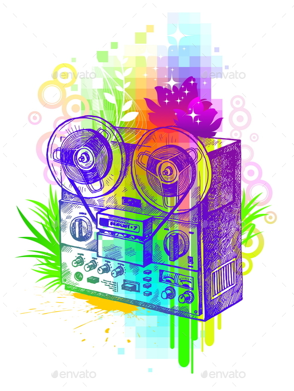 Hand Drawn Retro Tape Recorder - Vectors