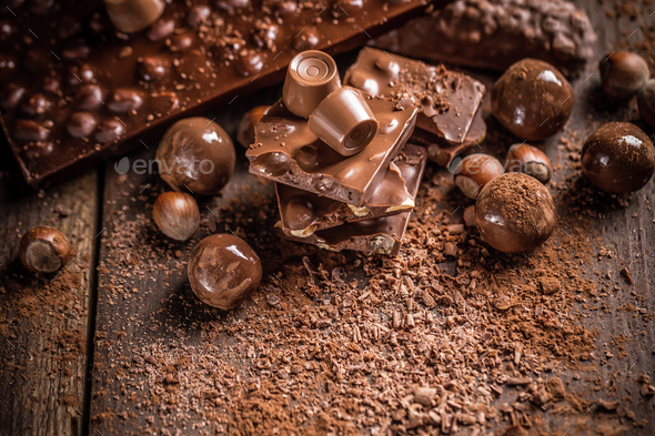 Chocolate bars and pralines - Stock Photo - Images