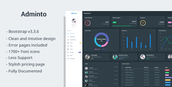 Adminto – Responsive Admin Dashboard