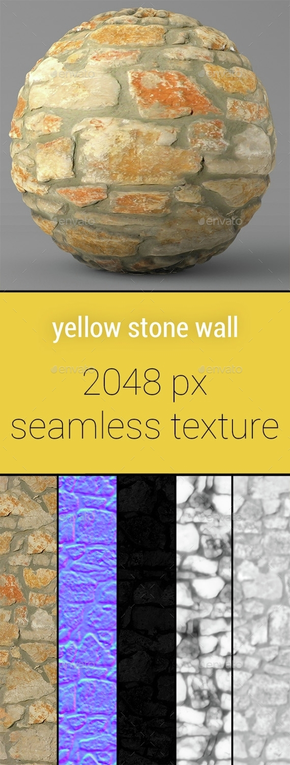Yellow Stone Wall Seamless Texture - 3DOcean Item for Sale