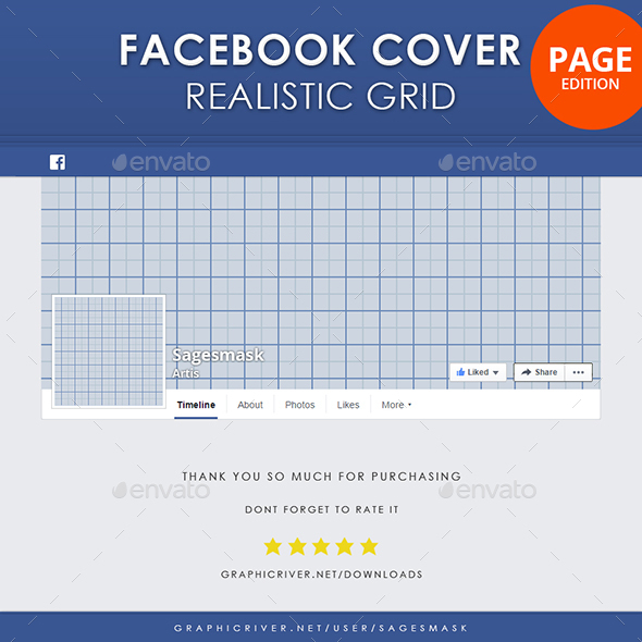 Facebook Timeline Cover Page Realistic Grid - Miscellaneous Social Media