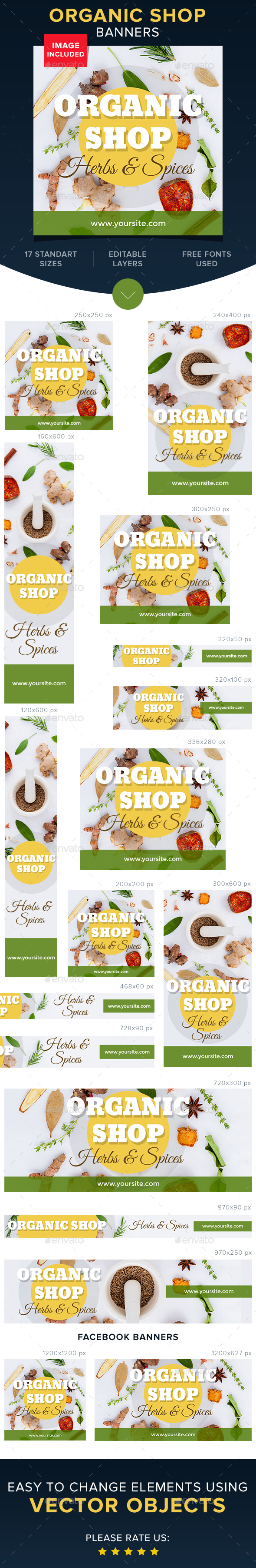 Organic Shop Banners - Banners & Ads Web Elements