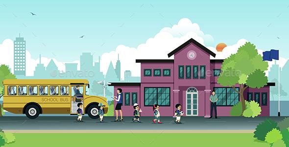 School Bus - Buildings Objects
