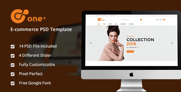 One+ jewelry & Watch Fashion E-commerce PSD Template