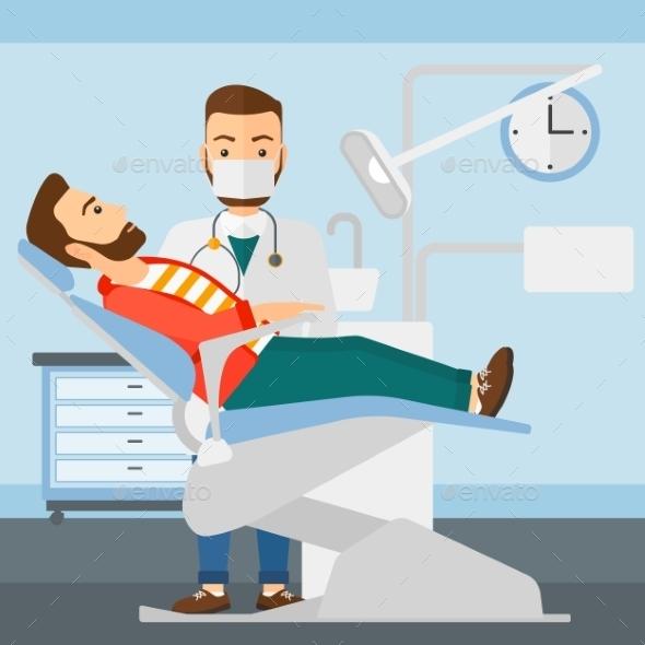 Dentist and Man in Dentist Chair - Health/Medicine Conceptual