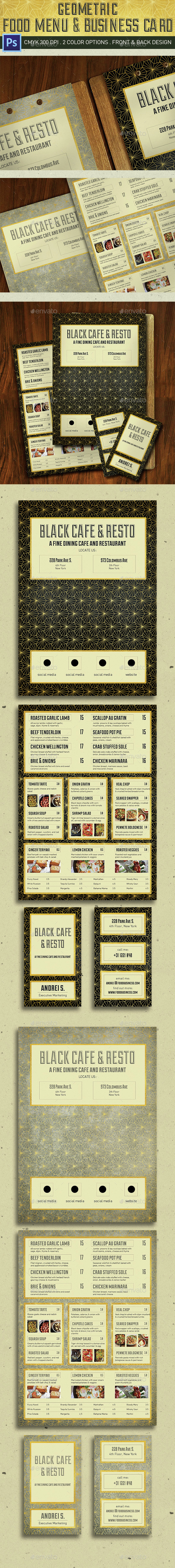 Geometric Food Menu - Food Menus Print Templates