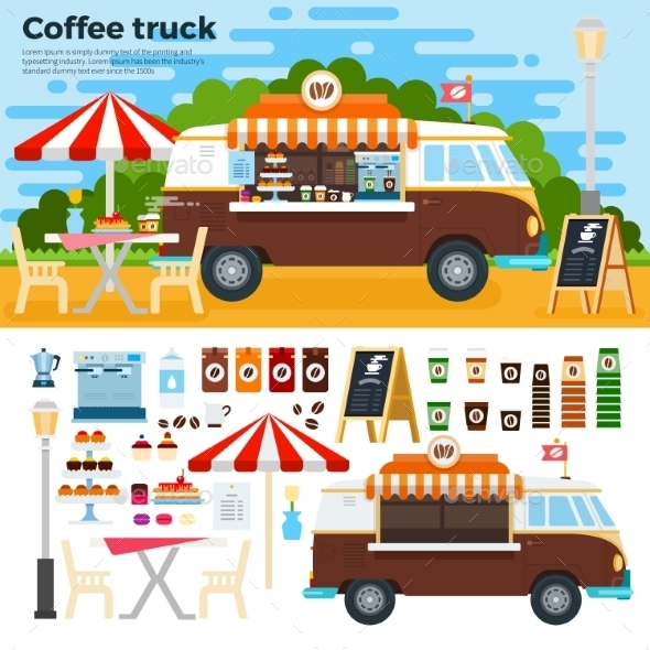 Coffee Truck on Street in the City - Food Objects